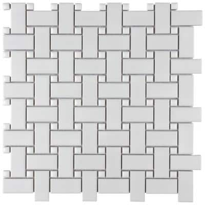 Metro Basketweave Matte White with Glossy White Dot 11-3/4 in. x 11-3/4 in. Porcelain Mosaic Tile (9.79 sq. ft./Case)