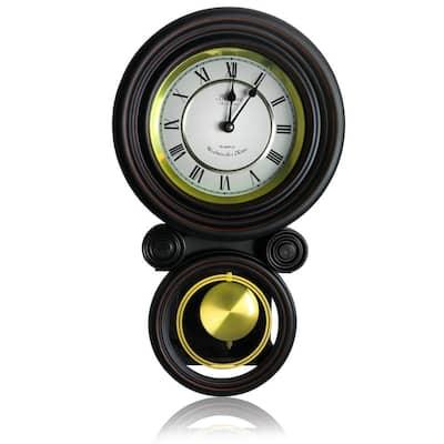 Contemporary Black Round Wall Clock with Pendulum