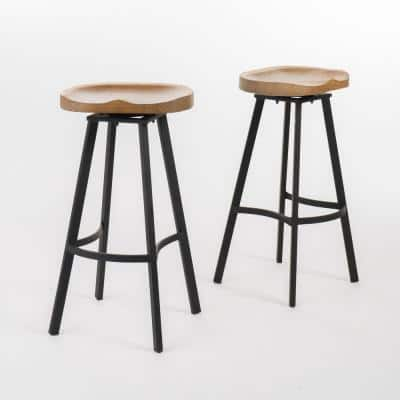 Silas 31.5 in. Natural Swivel Bar stool (Set of 2)