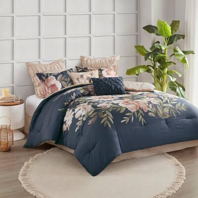Maia 8-Piece Navy Floral Cotton Queen Comforter Set