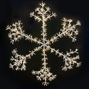 60 in. LED Sparkler Snowflake - Classic White, White Frame with 1080 LED 5 mm