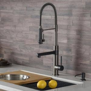 Artec Pro Single-Handle Pull Down Kitchen Faucet with Pot Filler in Matte Black/Black Stainless Steel