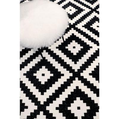 Pasargad Home Palermo Black 10 Ft X 13 Ft Geometric Polly And Chenille Area Rug Pk 5003 10x13 The Home Depot