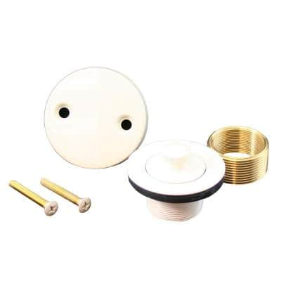 Lift and Turn Bath Tub Drain Conversion Kit with 2-Hole Overflow Plate in Biscuit