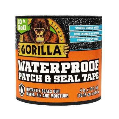4 in. x 10 ft. Waterproof Patch and Seal Tape in Black