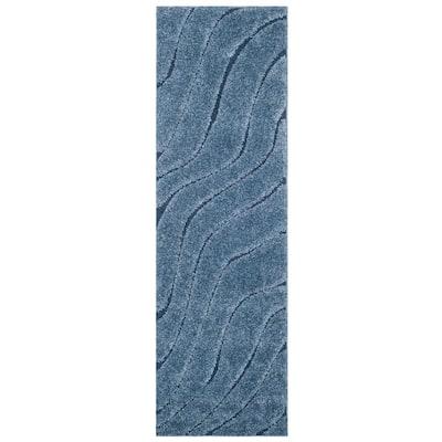 Florida Shag Light Blue/Blue 2 ft. x 7 ft. Solid Runner Rug