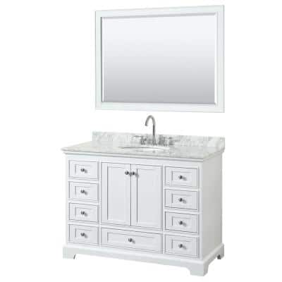 Wyndham Collection Deborah 60 In W X 22 In D Vanity In White With Marble Vanity Top In Carrara White With White Basin Wcs202060swhcmunsmxx The Home Depot