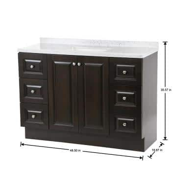 Northwood 49 in. W x 19 in. D Vanity in Dusk with Solid Surface Vanity Top in Silver Ash with White Sink