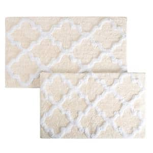Trellis Bone 24.5 in. x 41 in. 2-Piece Bath Mat Set