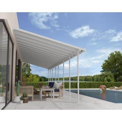 Feria 10 ft. x 34 ft. White Patio Cover Awning