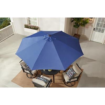 9 ft. Aluminum Market Crank and Tilt Patio Umbrella in Sky Blue