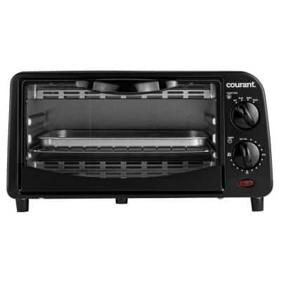 4-Slice Countertop Toaster Oven with Bake and Broil Functions and 30-Minute Timer in Black