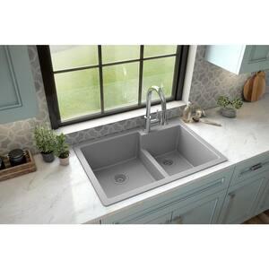 Grey Quartz 33 in. 60/40 Double Bowl Composite Drop-in Kitchen Sink