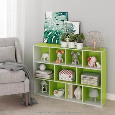 41.7 in. Green Faux Wood 11-shelf Cube Bookcase with Closed Storage