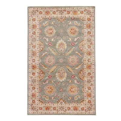 Frey Hand Tufted Green Beige 10 Ft X 14 Ft Floral Area Rug Rkg103018 The Home Depot