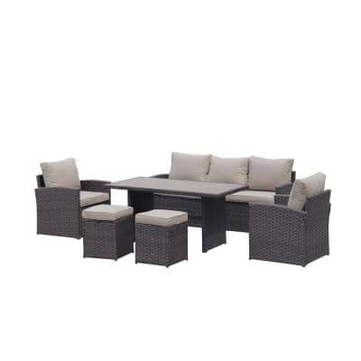 Dark Brown 6-Piece Wicker Outdoor Patio Seating Set with Khaki Cushions