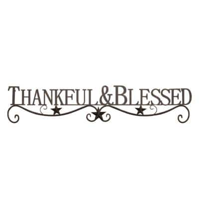 """Thankful and Blessed"" Metal Cutout Sign"