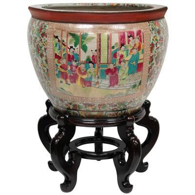 12 in. Rose Medallion Porcelain Fishbowl