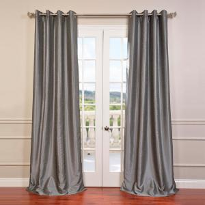 Exclusive Fabrics Furnishings Storm Grey Textured Grommet Blackout Curtain 50 In W X 96 In L Pdch Kbs7 96 Gr The Home Depot