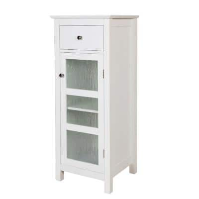 Connor 15 in. W x 14 in. D x 36 in. H Floor Cabinet with 1-Door and 1-Drawer in White