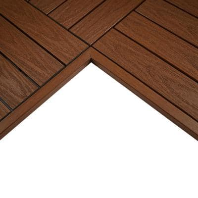 1/6 ft. x 1 ft. Quick Deck Composite Deck Tile Inside Corner Trim in Honduran Mahogany (2-Pieces/Box)