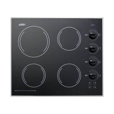 24 in. Radiant Electric Cooktop in Black with 4 Elements