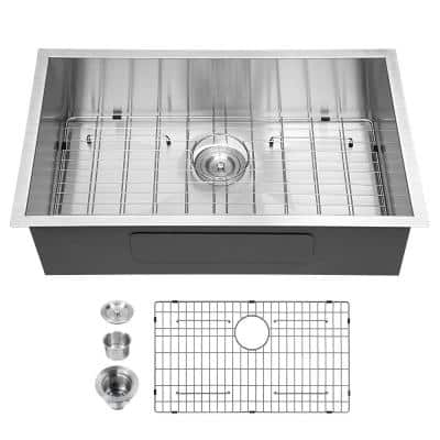 Stainless Steel 32 in. Single Bowl Undermount Kitchen Sink with Strainer