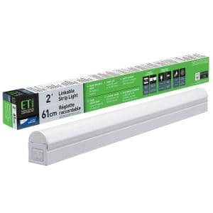 2 ft. 17-Watt Equivalent 900 Lumens Integrated LED White Strip Light Fixture 4000K Linkable Plug-in Direct Wire