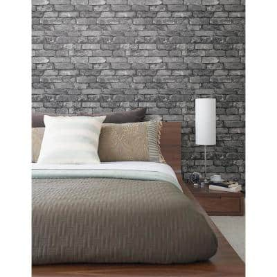 Debs Grey Exposed Brick Paper Strippable Roll Wallpaper (Covers 56.4 sq. ft.)