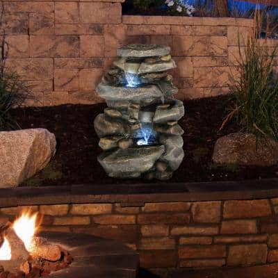 Outdoor Cascading Water Fountain with LED Lights