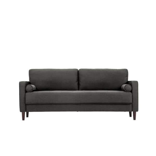 Lifestyle Solutions Lillith 31.1 in. Heather Grey Polyester 4-Seater Tuxedo Sofa with Square Arms   The Home Depot