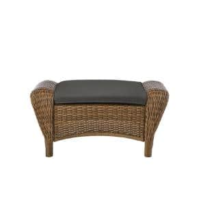 Beacon Park Brown Wicker Outdoor Patio Ottoman with CushionGuard Graphite Dark Gray Cushions
