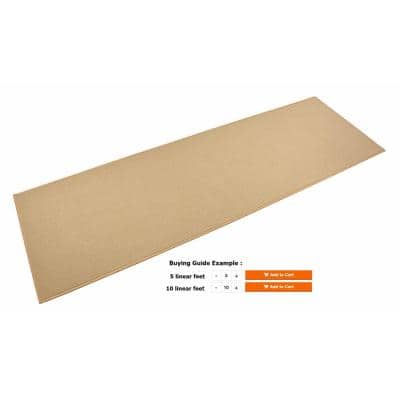 Rubber Collection Solid Beige 26 in. Width x Your Choice Length Custom Size Runner Rug