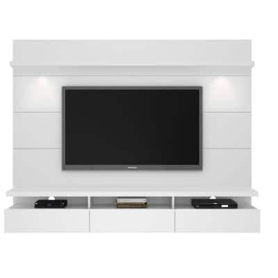 Cabrini Theater 86 in. White Gloss Entertainment Center with 3 Drawer Fits TVs Up to 70 in. with Wall Panel
