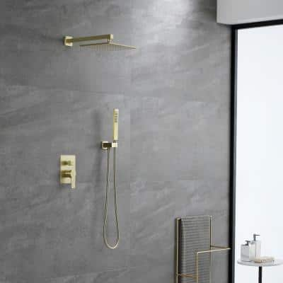 1-Spray Patterns with 2.66 GPM 10 in. Wall Mount Dual Shower Heads with Rough-In Valve Body and Trim in Brushed Gold