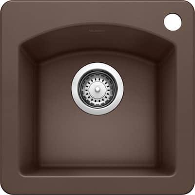 DIAMOND SILGRANIT Brown Granite Composite 15 in. 1-Hole Dual Mount Bar Sink