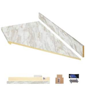 8 ft. White Laminate Countertop Kit With Right Miter and Eased Edge in Drama Marble