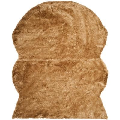 Faux Sheep Skin Camel 8 ft. x 10 ft. Area Rug