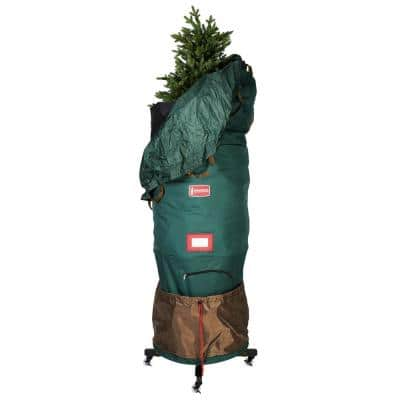 Large Upright Christmas Tree Storage Bag for Trees Up to 9 ft. Tall with Rolling Tree Stand
