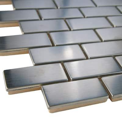 Meta Standard Subway 11-3/4 in. x 11-3/4 in. x 8 mm Stainless Steel Metal Over Ceramic Mosaic Tile (0.96 sq. ft./Each)