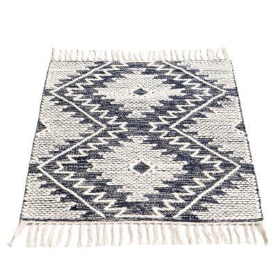 Handwoven Blue 2 ft. x 3 ft. Geometric Cotton/Wool Flatweave Kilim Area Rug