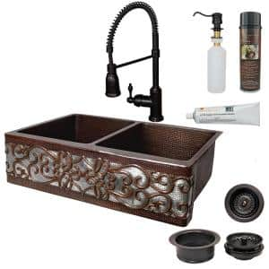 All-in-One Dual Mount Copper 33 in. 50/50 Double Bowl Scroll Kitchen Sink with Faucet in ORB and Nickel