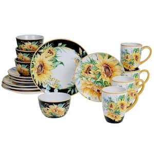 Sunflower Fields 16-Piece Seasonal Multicolored Earthenware Dinnerware Set (Service for 4)