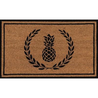 Park Pineapple Black and Natural 1 ft. 6 in. x 2 ft. 6 in. Indoor/Outdoor Doormat