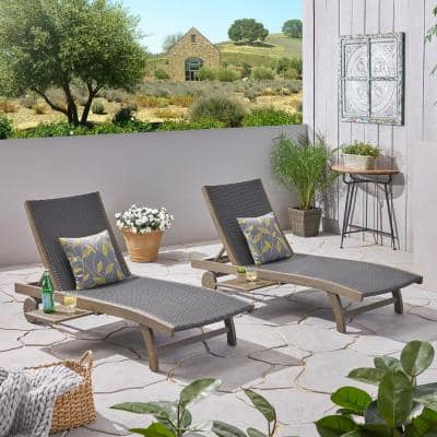 Colby Gray 2-Piece Acacia Wood Outdoor Chaise Lounge