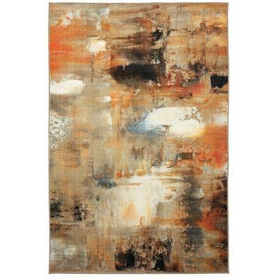 Distressed Canvas Grey 5 ft. x 8 ft. Abstract Area Rug