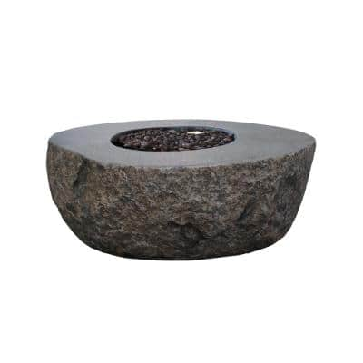 Boulder 43 in. x 35 in. x 16 in. Irregular Oval Concrete Natural Gas Fire Pit Table in Dark Gray