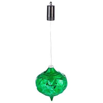8 in. Green Shatterproof LED Teardrop Outdoor Safe Battery Operated Christmas Ornament