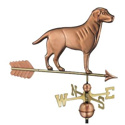 Labrador Retriever Weathervane with Arrow - Pure Copper