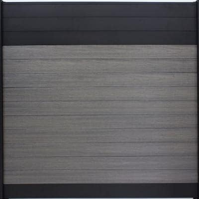 Euro Style 6 ft. H x 6 ft. W Black Top Oxford Grey Aluminum/Composite Horizontal Fence Section